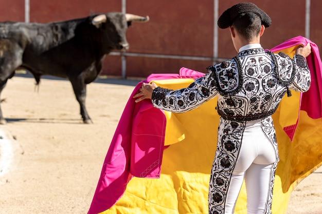 Torero corrida un toro nella piazza in spagna
