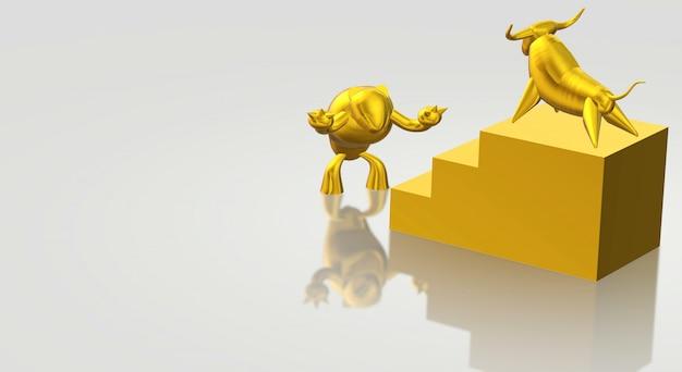 Toro d'oro della rappresentazione 3d e contenuto di affari dell'orso.