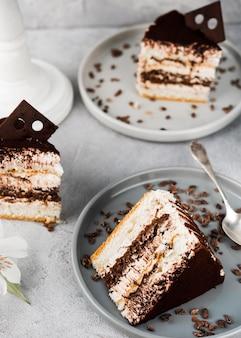 Torta al cioccolato ad alto angolo
