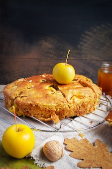 Torta di mele e mele gialle, autunno still life