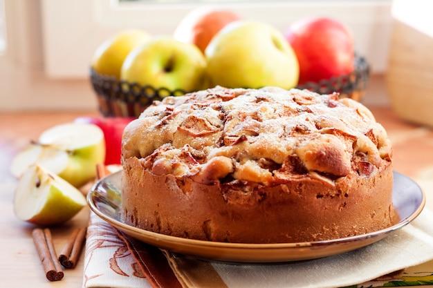 Torta di mele fatta in casa con cannella sul piatto