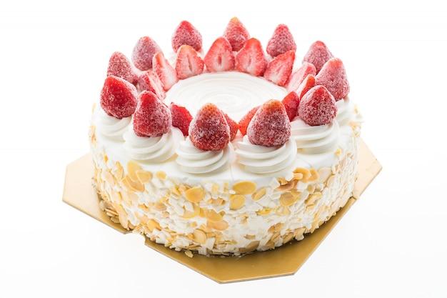Torta gelato alla vaniglia con fragole in cima