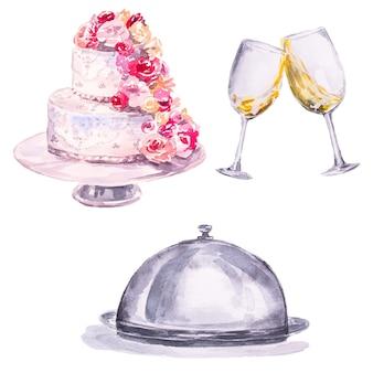 Torta nunziale dipinta a mano dell'acquerello, vetri con le bevande e piatto del piatto. set di clipart di nozze.
