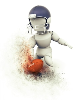Touchdown del giocatore di football americano 3d