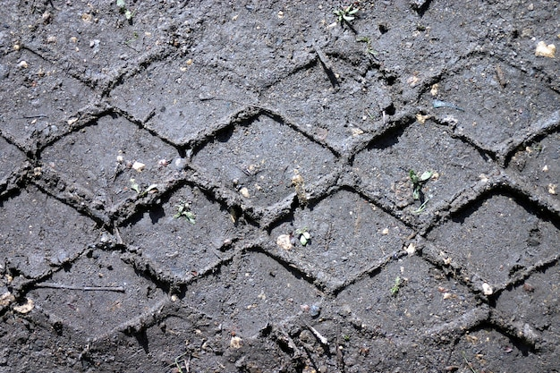Tracce di pneumatici sul terreno.