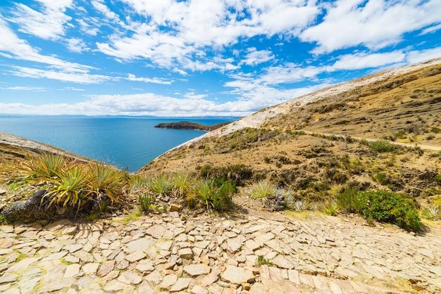 Traccia di inca sull'isola del sole, lago titicaca, bolivia