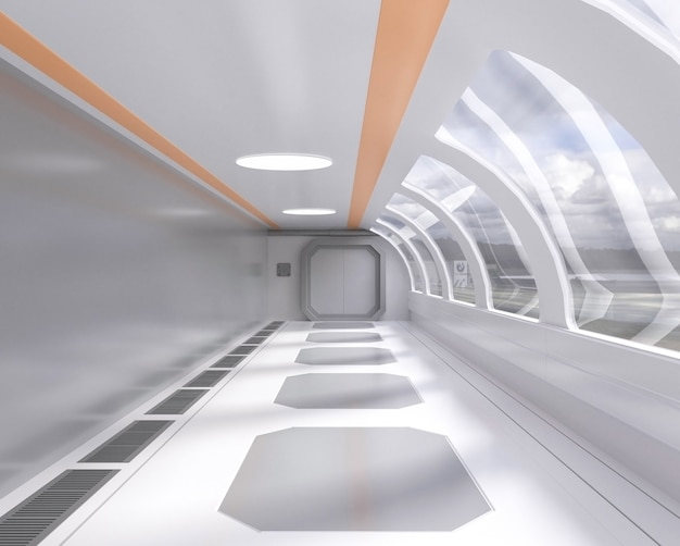 Traforo futuristico luminoso della rappresentazione 3d con la finestra e la vista esterna, corridoio, astronave