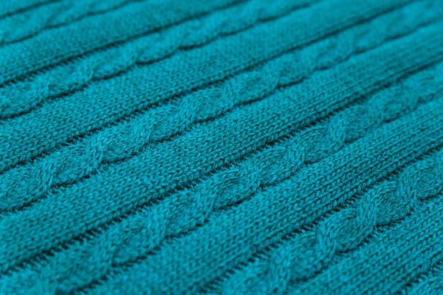 Trama del tessuto blu a maglia
