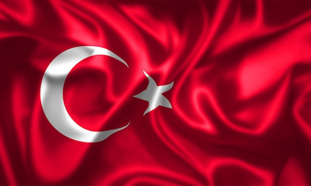 Trama del tessuto della bandiera della turchia