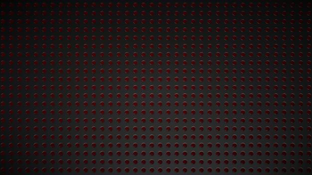 Trama di griglia nera con incavi illuminati in rosso.