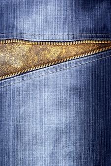 Trama di jeans con cerniera