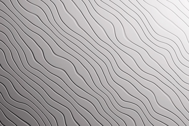 Trama di sfondo grigio alla moda con curve di linee di onde diagonali