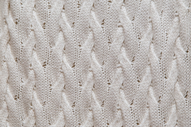 Trama di tessuto a maglia bianca