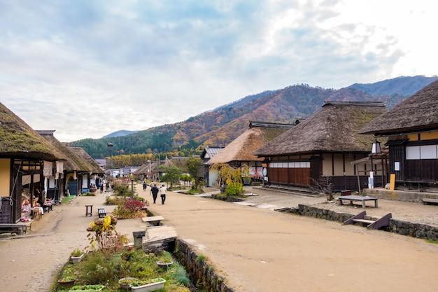 Tramonto di fukushima giappone del villaggio di ouchujuku