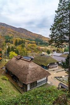 Tramonto fukushima giappone del villaggio di ouchujuku