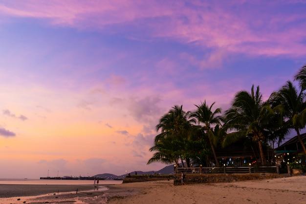 Tramonto su una spiaggia tropicale paradiso con palme