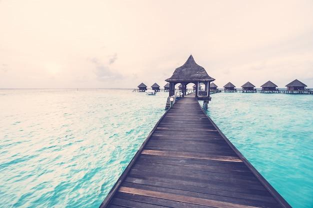 Tramonto sull'isola delle maldive