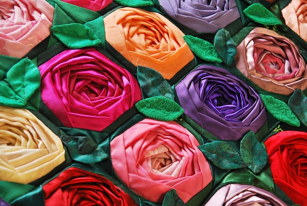 Trapunta patchwork con fiori