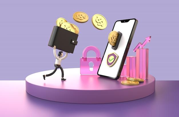 Trasferimento di denaro premium online protezione protetta su smartphone