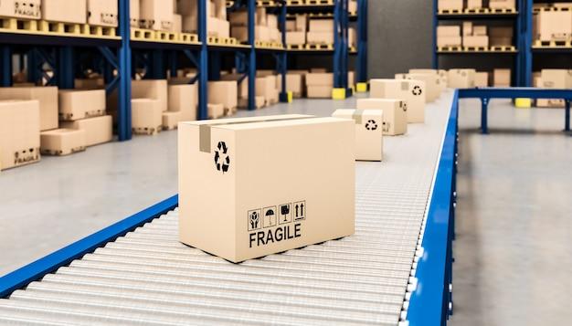 Trasportatore con scatole