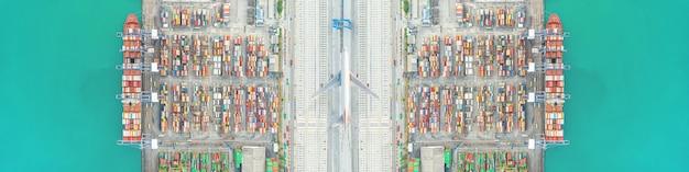 Trasporto aereo e transito di navi portacontainer carico e scarico in hutchison ports, logistica aziendale trasporto import-export trasporto marittimo