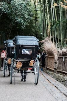 Trasporto in arashiyama bamboo grove, viaggiatori che visitano la foresta di bambù di sagano. punto di riferimento e popolare per le attrazioni turistiche di kyoto, in giappone. concetto di viaggio in asia