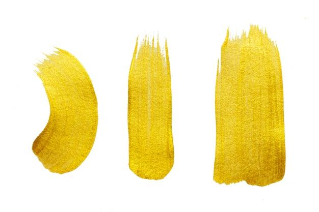 Tratto di pennello d'oro. illustrazione brillante di arte strutturata dell'oro astratto.
