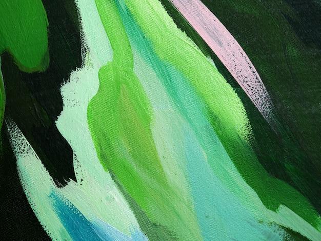 Tratto di pennello verde della pittura a olio su fondo e struttura astratti della tela