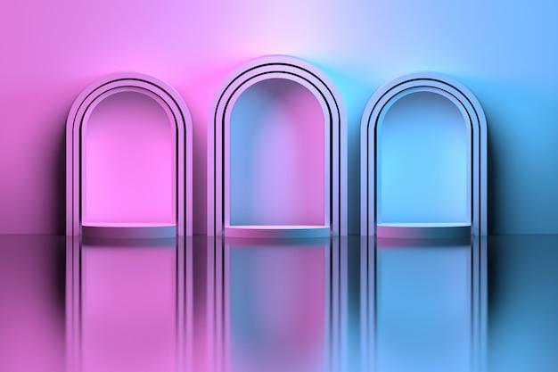 Tre archi sul pavimento a specchio colorato con sfumatura rosa blu