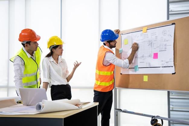 Tre architetti in ufficio e discutono del progetto di design a bordo.
