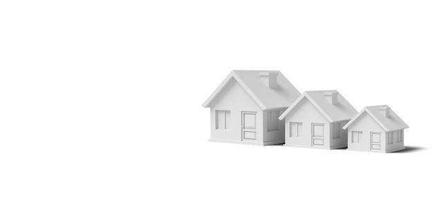 Tre case vuote bianche su un'immagine di sfondo bianco