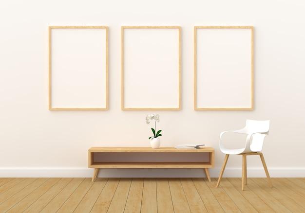 Tre cornici vuote per mockup in salotto moderno