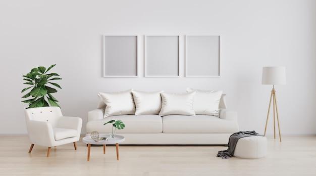 Tre cornici vuote sul muro. inserisci la tua foto interni moderni del soggiorno