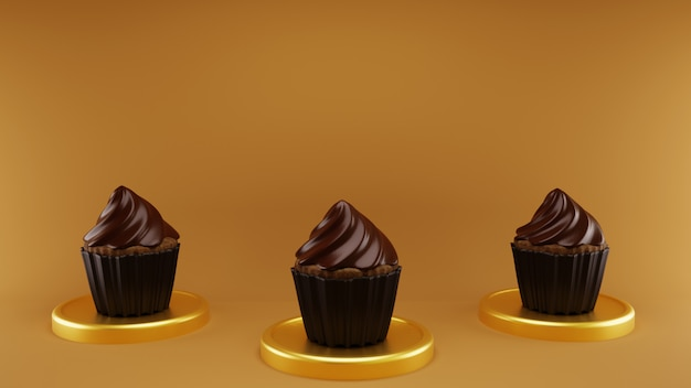 Tre cupcakes brownie chocholate con moneta d'oro in marrone