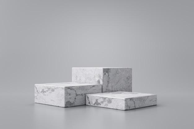 Tre fasi dell'esposizione bianca del prodotto di marmo su fondo grigio con lo studio moderno dei contesti. piedistallo vuoto o piattaforma podio. rendering 3d.