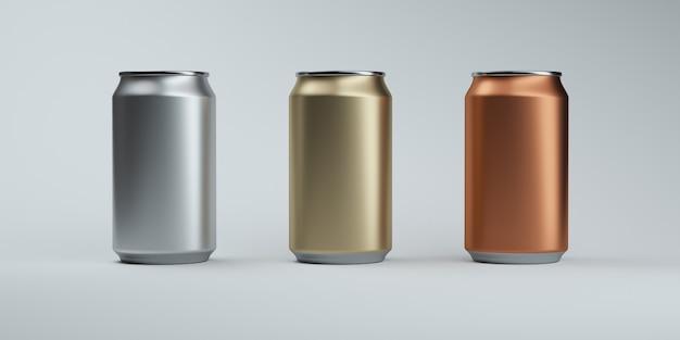 Tre lattine di soda di colore metallico su un elegante buio
