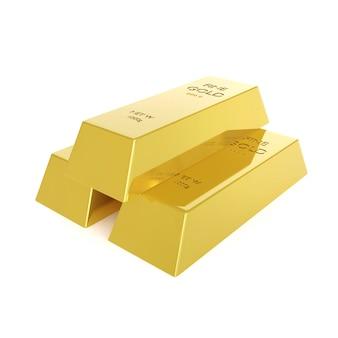 Tre lingotti d'oro. concetto di affari. illustrazione di rendering 3d.