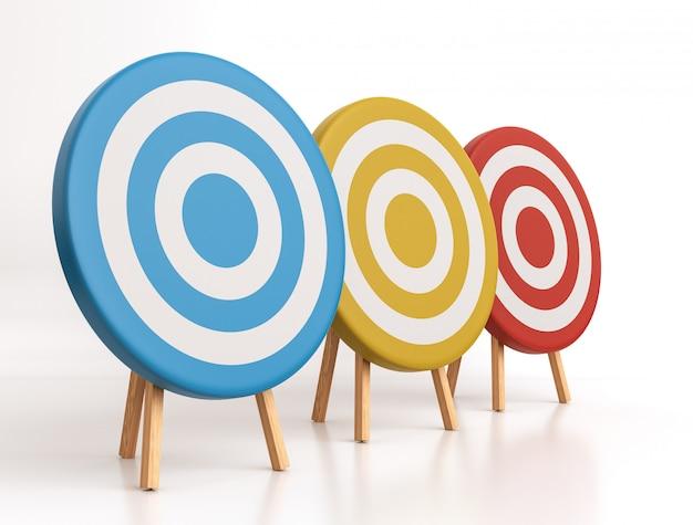Tre obiettivi su bianco