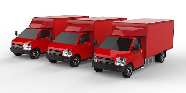 Tre piccoli camion rossi. servizio di consegna auto. consegna di merci e prodotti ai punti vendita. rendering 3d.