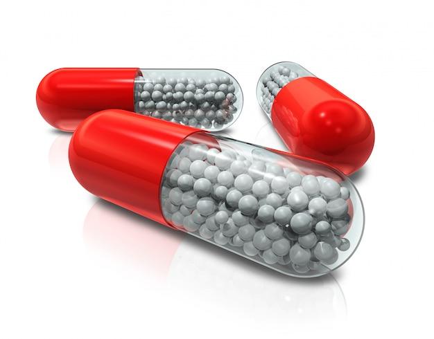 Tre pillole della capsula 3d isolate su bianco