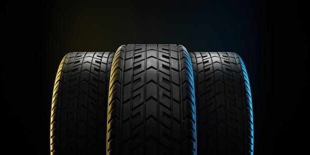 Tre pneumatici per auto allineati. illustrazione 3d