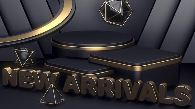 Tre podi di lusso neri e oro per mostrare i tuoi prodotti. nuovi arrivi. sfondo astratto