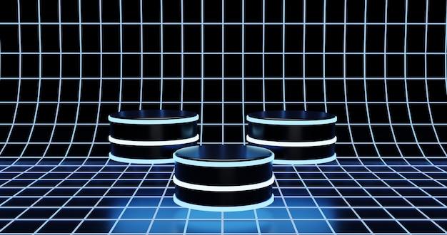 Tre podio futuristico su sfondo superficie neon wireframe