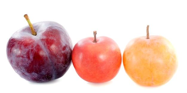 Tre prugne su bianco