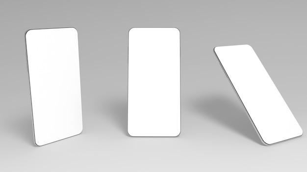 Tre smartphone 3d con schermi bianchi vuoti