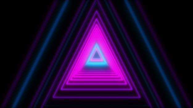 Triangoli al neon di luci astratte 3d. animazione loop.