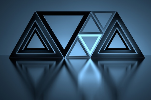 Triangoli blu luminosi sopra il pavimento riflettente a specchio