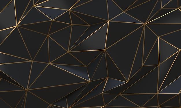 Triangoli low poly astratti neri e oro