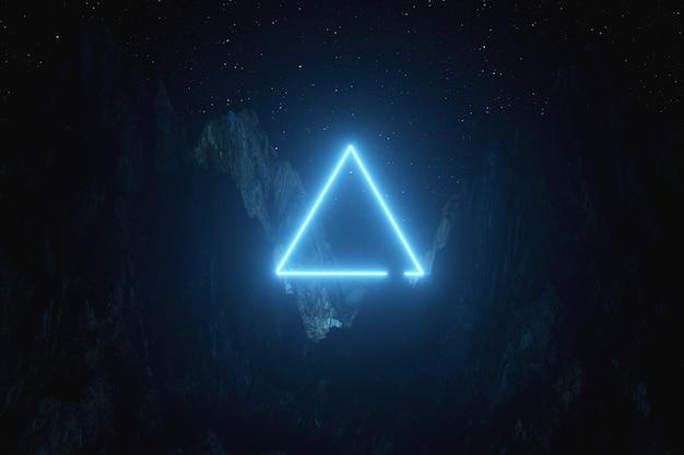 Triangolo al neon blu brillante tra le montagne