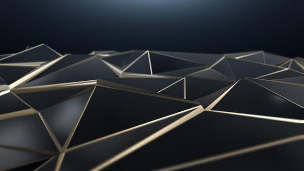 Triangolo basso poli astratto nero e oro